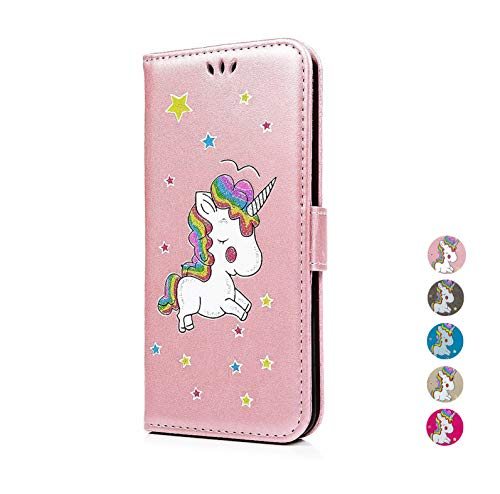 E-Panda Huawei Y9 2018/Enjoy 8 Plus Hoes Eenhoorn Glitter Flip Case Phone Case Leather Case Tas Etui Beschermhoes met kaartenvak