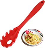 Silicone Pasta Fork,11Inch Spaghetti Spoon Pasta Fork,High Heat Resistant to 480°F, Hygienic One Piece Design, Spaghetti Strainer & Server Spoon Ideal for cooking (Red)