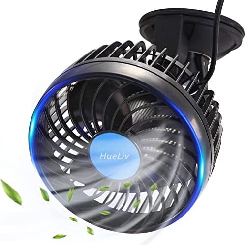 HueLiv Ventilador de Coche Ajustable Ventilador Eléctrico con Ventosa Poderoso Silencioso Cambio de Velocidad sin Escalonamientos Rotativo 12V Ventiladores de Coches del Verano de Refrigeración
