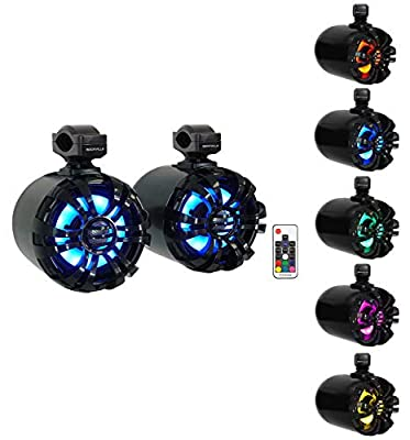 "2 Rockville WB65KLED 6.5"" 600w Black Marine Wakeboard LED Tower Speakers+Remote from Rockville"