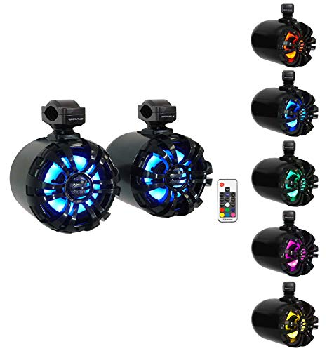 "2 Rockville WB65KLED 6.5"" 600w Black Marine Wakeboard LED Tower Speakers+Remote"