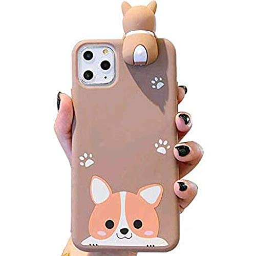 IPLUS 3D Cartoon Case Compatible with iPhone 11 Pro Max, Super Cute Welsh Corgi Peeking on Top Soft Silicone Protective Case, Flexible TPU Bumper Cover (Corgi-Smile, iPhone 11 Pro Max)