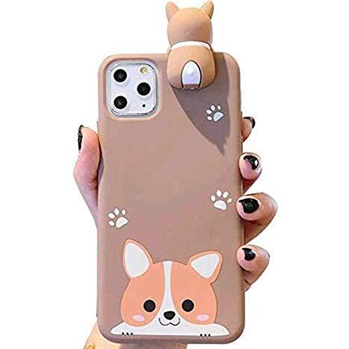 IPLUS 3D Cartoon Case Compatible with iPhone 11 Pro Max, Super Cute Welsh Corgi Peeking on Top Soft Silicone Protective Case, Flexible TPU Bumper Cover (Corgi-Smile, iPhone 11 Pro Max)