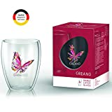 Creano doppelwandiges Tee-Glas, Latte Macchiato, Thermobecher Schmetterling | 250ml in exklusiver Geschenkbox (Rot)