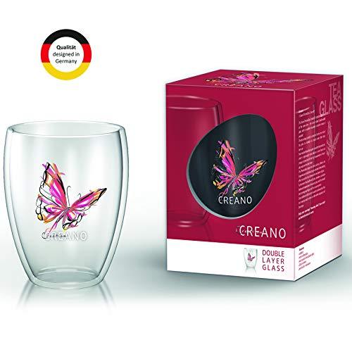 Creano doppelwandiges Tee-Glas, Latte Macchiato, Thermobecher Schmetterling | 250ml in exklusiver Geschenkbox (Rot)
