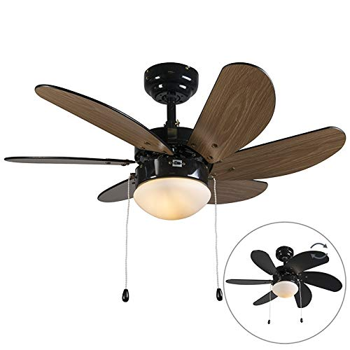 QAZQA - Modern Deckenventilator mit beleuchtung schwarz - Fresh 3 | Wohnzimmer | Schlafzimmer | Küche - Stahl Rund - LED geeignet E14