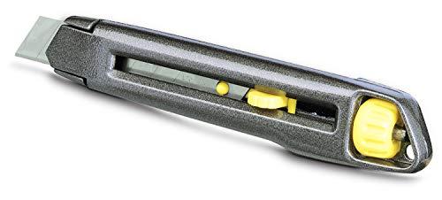 Stanley Cutter InterLock (Metallkorpus, werkzeugloser Klingenwechsel, Klingenschieber rastet ein) 1-10-018, Mehrfarbig (Grau/Gelb)