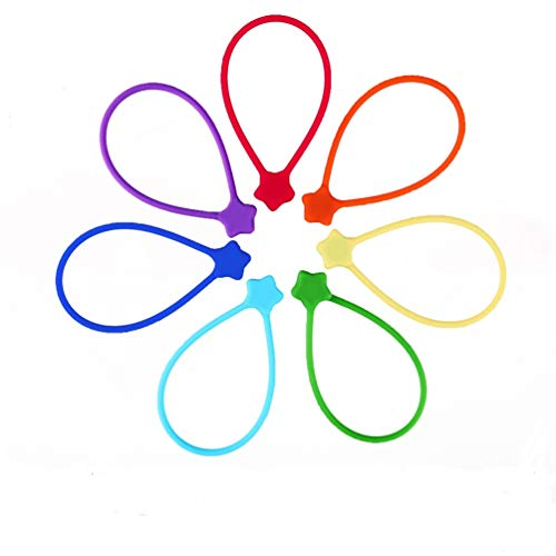 Fironst Silicone Strong Magnetic Cable Ties/Reusable Magnetic Twist Ties for Bundling and Organizing, Can Be Used in USB Cable, Home Kitchen, Office, School or Just for Fun (7Pack-7Colors)