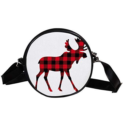 Moose buffalo plaid Women's Round Cross-Body Zipper Shoulder Bag circle purses and handbags