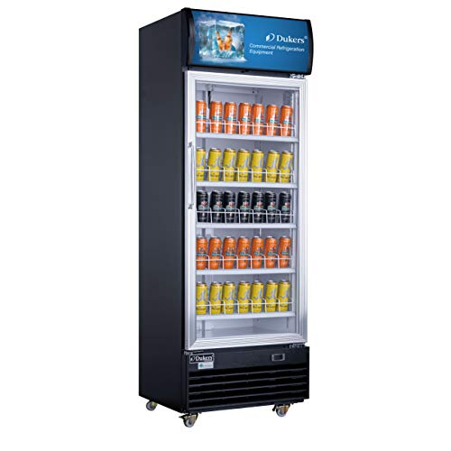 Dukers LG-430 Commercial Single Glass Swing Door Merchandiser Refrigerator