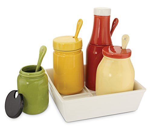KOVOT Ceramic BBQ Condiment Set And Tray - Includes 4 Canisters, A Tray And Spoons