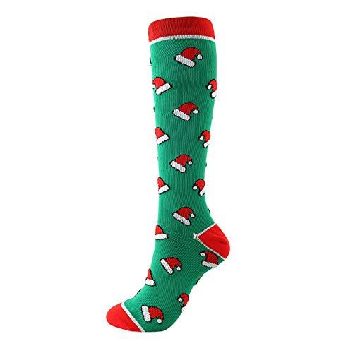XMYNB Socke 2Pares / Kompressions Hohe Strümpfe Damen Herren Druck Socken Compress Sport Muster Lauf Knee High Nylon Run Socken,64 Weihnachtsmütze,S-M