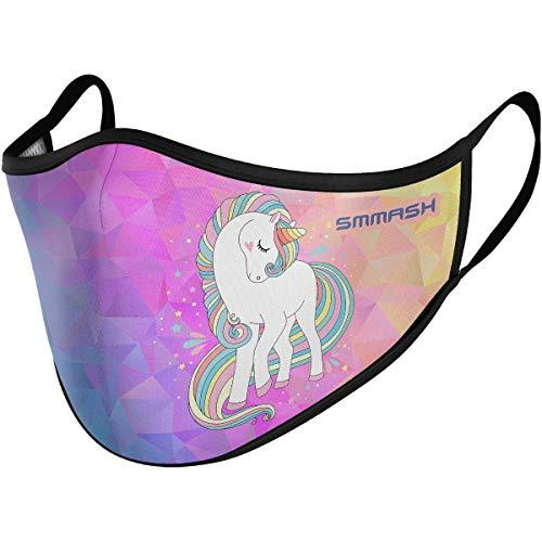 SMMASH Mundschutz Maske Kinder Wiederverwendbar, Hochwertiges Gesichtsmaske Waschbar, für Mädchen und Jungen, Hergestellt in der Europäischen Union (3/6 Jahre, Pony)