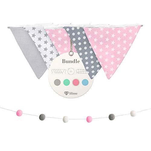 lilime® Wimpelkette Inkl. GRATIS Girlande ideal für Dekoration im Kinderzimmer - Unsere Wanddeko für dein Kind - Super süße Deko für jedes Babyzimmer (1.9M/Grau-Weiß-Pink)