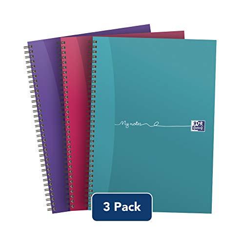 Cuaderno Oxford My Notes de tamaño A4, con tapas de cartulina y con espiral, color varios colores 3 unidades