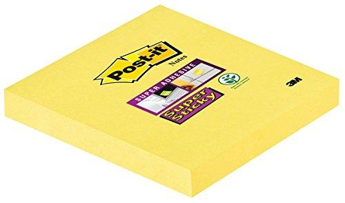 Post-It Super Sticky - Notas Adhesivas (76 mm de Ancho, 76 mm de Alto, 90 Hojas), Color Amarillo