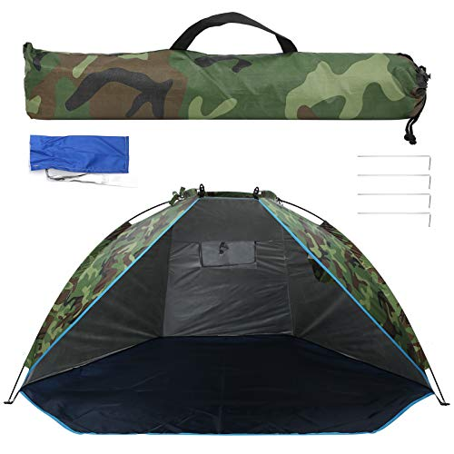 Tienda de campaña portátil para 2 personas, tienda de campaña de camuflaje con protección UV, tienda de campaña con toldo para refugio solar impermeable con bolsa de almacenamiento para acampar, sende