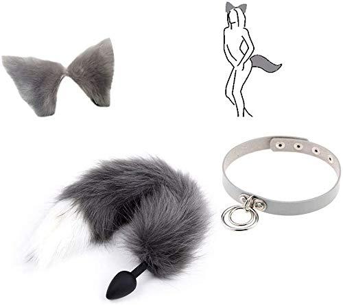 Z-one 1 3 piezas Novetly Fox P-l--g Tail Soft Silicone Head con juego de orejas de gato Horquilla Cosplay Set para mujer Collar Gargantilla Mascarada Disfraz de Halloween Herramientas de anime (gris)