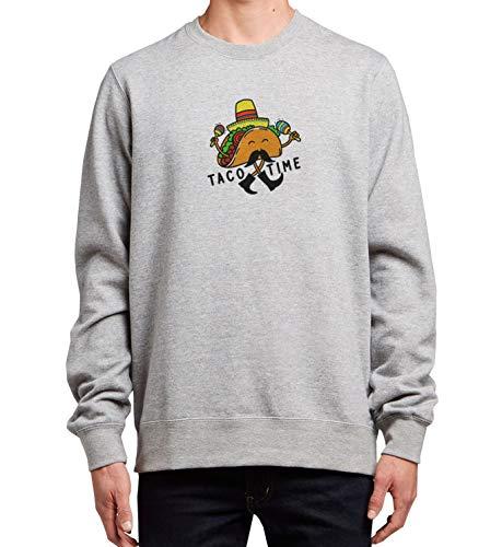 Taco Time Mexican Food Sombrero_MRZ1338 Cuello redondo 100% algodón para hombres y mujeres, suéter de verano, regalo, casual unisex - gris - XX-Large