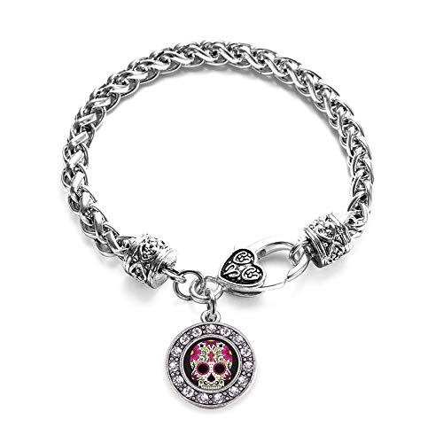 Inspired Silver - Sugar Skull Braided Bracelet for Women - Silver Circle Charm Bracelet with Cubic Zirconia Jewelry