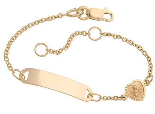 Kinder/Baby Gravur-Armband Mod. IDBo-3 Taufarmband 375 Gold Länge von 12-16cm inklusive Gravur