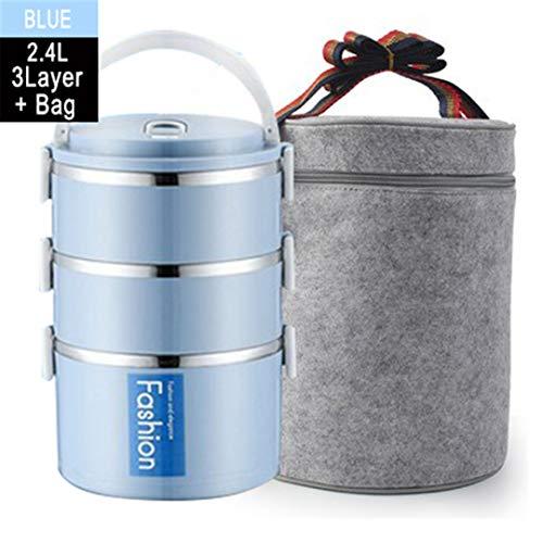 Color sólido Acero Inoxidable Caja Almuerzo del Aislamiento térmico Bento Lunchbox Cocina apilable envase alimento Blue 3 with Bag