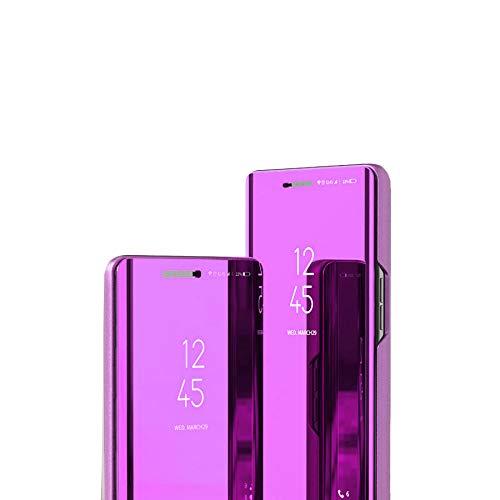 LAJIOJIO Compatible con Galaxy J7 Funda Makeup Clear View Espejo Ventana Diseño Libro Estilo Soporte Completo Protección Cuerpo Flip Folio Shell Cover para Samsung Galaxy J7 Flip Espejo : Lila