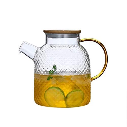Water Pitcher glas karaf, glas kruik met deksel water kruik hittebestendige borosilicaat glas, hamer koud water fles stijlnaam 1800ml Bamboosteelcover