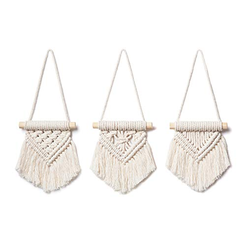 Mkono Macrame Wall Hanging Set of 3 Cute Macrame Holiday Ornaments Boho Art Woven Decor for Nursery Apartment Bedroom Living Room Dorm Home Office Handmade Gifts Idea, Mini Size 3.5''W x 4''H