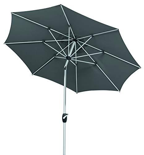 Schneider Parasol Venedig, Moka, env. 270 cm Ø, en 8 Parties, Rond, Anthracite, 270x270x250 cm