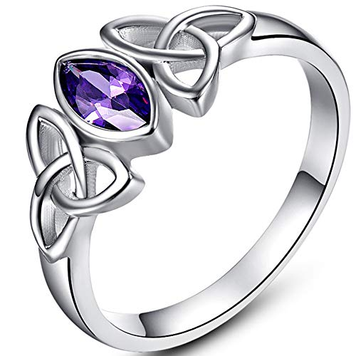 Jude Jewelers White Gold Plated Celtic Knot Oval Shape Stone Solitaire Wedding Engagement Proposal Ring… (Purple, 10)