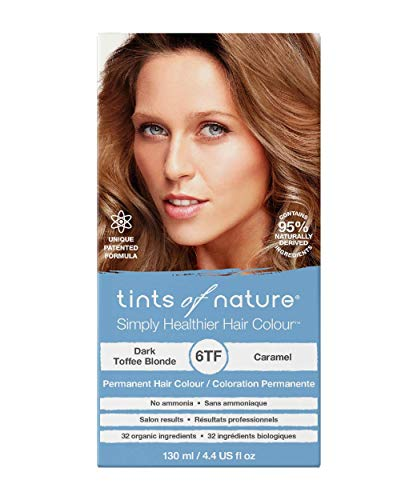 Tints of Nature 6TF Dark Toffee Blonde, Vegan Permanent Hair Dye, 95% Natural, Free from Ammonia, Parabens, and Propylene Glycol, Single