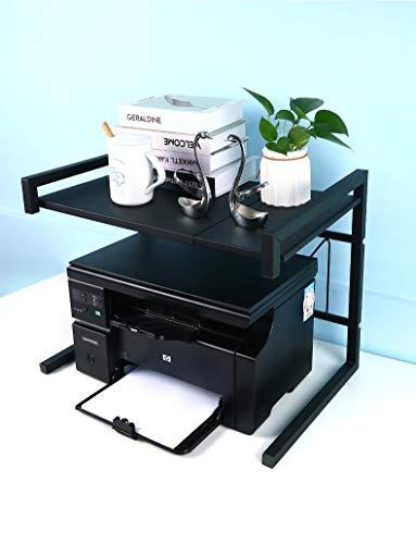 LUCHS – Druckerhalter Ständer Druckerständer Halterung aus Metall Organizer Schreibtisch-Regal für Drucker, ideal für Büro und Zuhause geeignet, in der Breite ausziehbar (Klassik)