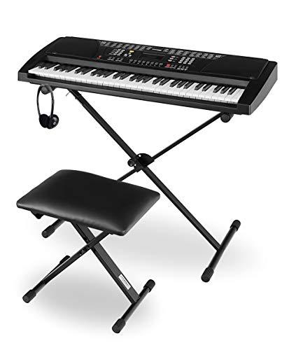 Funkey Super Kit 61 Tasten Keyboard Set - Einsteiger Keyboard mit 100 Sounds & Rhyhmen - Inklusive Stativ, Sitzbank und Kopfhörer - Schwarz