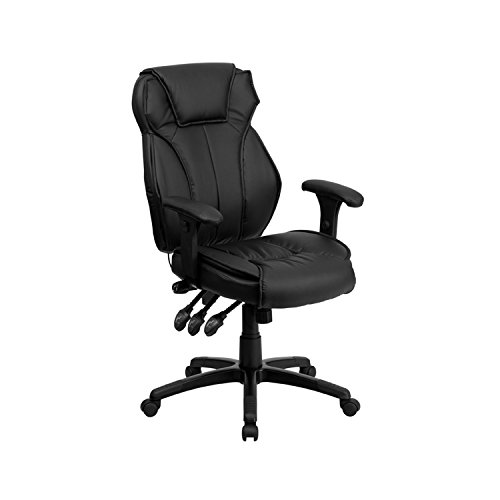 Flash Furniture High Back Black LeatherSoft Multifunction Executive Swivel Ergonomic Office Chair with Lumbar Support Knob with Arms, BIFMA Certified