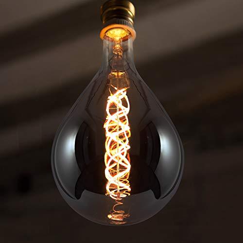 GBLY LED Glühbirne Groß E27 Rauchgrau Glühlampe 7W in Birnenform 2200K Warmweiß als Pendelleuchte Dekorative Spiralfilament Beleuchtung für Haus Café Bar Restaurant, 17 * 15cm