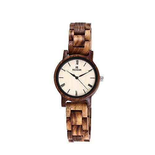 Small Dial Zebra Relojes de Mujer Retro Señoras Reloj de Madera, Reloj de Madera Ligero Impermeable, Reloj, Monsteramy (Color : Zebrano)