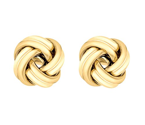 Tuscany Silver Damen Sterling Silber Gelbgold Plattiert Knot Ball Ohrstecker 12mm