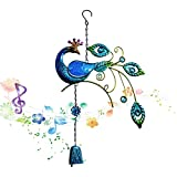 Wind Glockenspiel Pfau Skulptur Farbige Zeichnung Design Hängende Metall Windglocken für Home Yard Balkon Dekoration Hängende Anhänger Outdoor-Ornament (Blau)