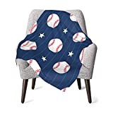 Baby Blanket Baseballs in Blue with Stars Comfy Soft Newborn Blanket Thermal Breathable Receiving Blanket Skin-Friendly Swaddling Blankets Durable Toddler Sheets Thick Shower Gifts for Crib Outdoor