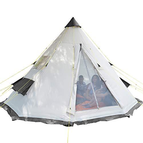 skandika Tipi 6 Personen Zelt Outdoor | Campingzelt für 6 Personen, eingenähter Zeltboden, Moskitonetz, 2,5 m Stehhöhe, 3000 mm Wassersäule, Stahl-Gestänge | Indianerzelt, Festivalzelt, Glamping