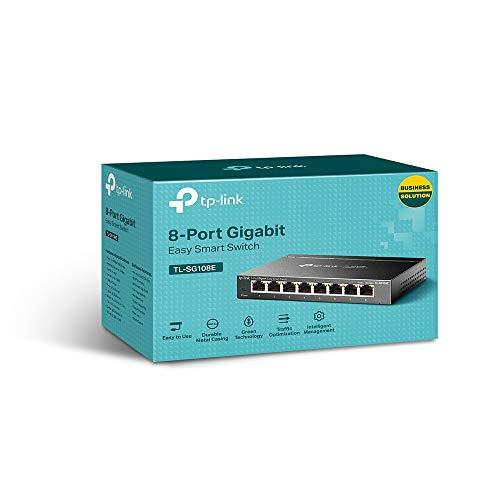 TP-Link TL-SG108E 8-Ports Gigabit Easy Smart Managed Netzwerk Switch(8 Gigabit-RJ45-Ports, Metallgehäuse, optimiert Datenverkehr, IGMP-Snooping, zentrales Management, energieeffizient)schwarz metallic