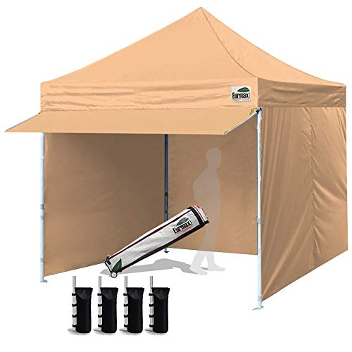 Eurmax 10 x 10 Pop up Canopy Commercial Tent Outdoor Party Canopies with 4 Removable Zippered Sidewalls and Roller Bag Bonus 4 Canopy Sand Bags & 24 Squre Ft Extended Awning(White)
