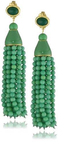 Kenneth Jay Lane Simulated Jade Bead and Tassel Clip-On Earrings