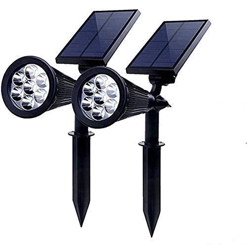 PowerKing Foco Solar LED Lámpara Exterior IP65 Impermeable Luces 7 Colores Cambia con 2 Modos Bajo Voltaje Pared Iluminación de Seguridad Pilas para Terraza, Jardín, Césped, Patio, Caminos(2 Paquetes)