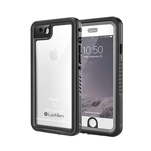 Lanhiem Funda Impermeable iPhone 6 / 6s, Carcasa Sumergible Resistente Al Agua IP68 [Protección de 360 Grados], Carcasa para iPhone 6 y 6s con Protector de Pantalla Incorporado,Negro/Gris