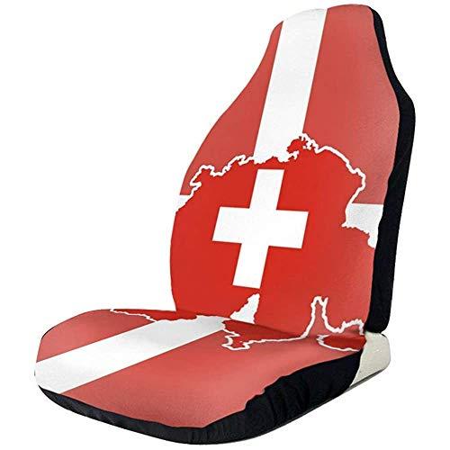 Autostoelhoezen, Zwitserland Map Flag Car Seat Cover Voorstoelen Universeel