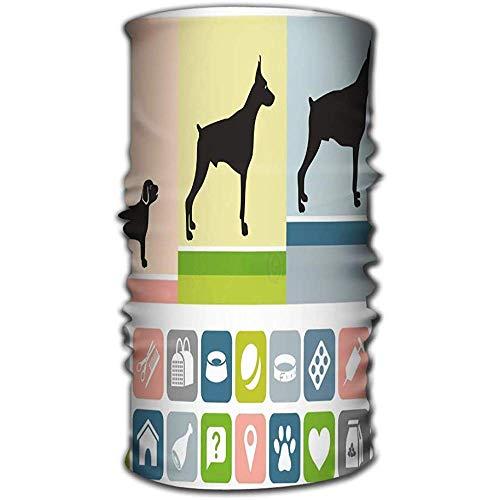 URORAPTrrrrr Magic Headwear Sciarpe per la Testa Sciarpa per le Donne Uomini Età Cane Immagine tre cani Stessa Razza Cucciolo di età diversa per vecchie Icone Attributi Cani Della Vita ferventi
