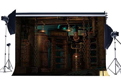 vrupi 9X6FT Steampunk Telón Fondo Vintage Metal Engranajes Pilares oxidados industriales Gloomy Wall Lantern Grunge Piso mármol Interior Vinilo Fotografía Fondo Adultos Estudio fotográfico Apoyos