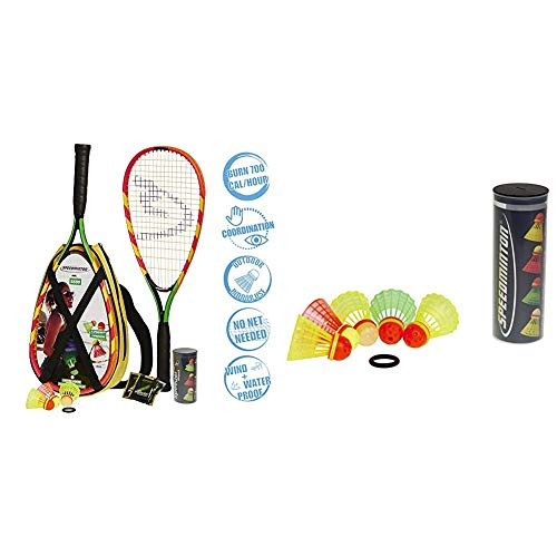 Speedminton S600 Set, Gr&uumln/Gelb/rosa, One Size & Mix Speeder - 5er Pack Speed Badminton/Crossminton Bälle gemischt inkl. Windring